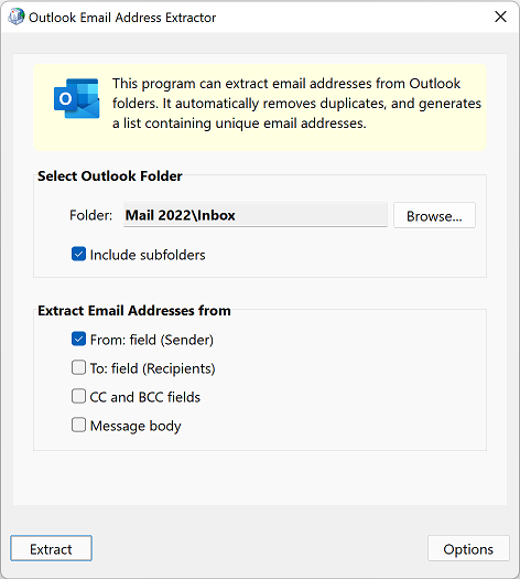 Outlook Email Address Extractor full screenshot