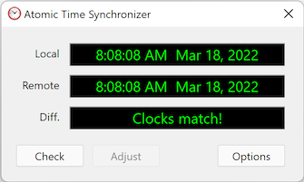 Atomic Time Synchronizer is a useful and handy utility to keep your PC clock accurate.It periodically checks and synchronizes your computer clock with NIST atomic time servers, or synchronizes time between computers.