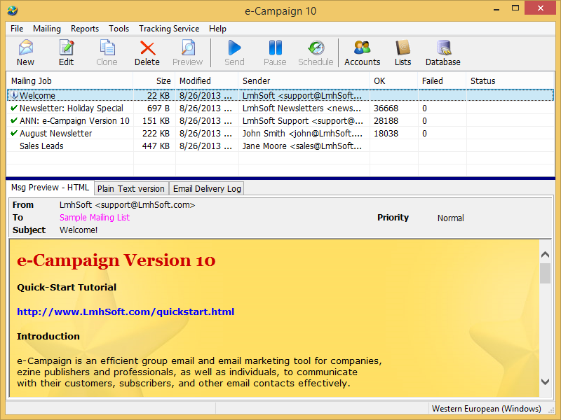 Click to view e-Campaign 10.0.32 screenshot