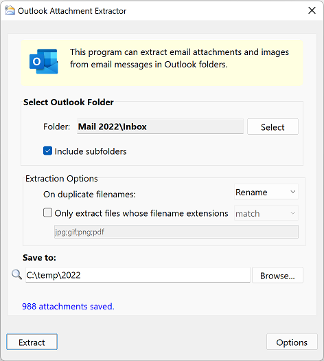 Outlook Attachment and Picture Extractor